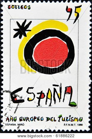 SPAIN - CIRCA 1990: A stamp printed in spain shows Spanish tourism symbol created by Joan Miro