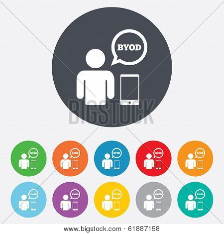 BYOD sign icon. Bring your own device symbol.
