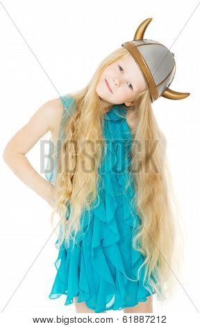 Girl Viking Horned Helmet With Long Blonde Hair, Kid In Toy Costume Hat, Isolated White Background