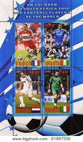 RWANDA - CIRCA 2010: A stamp printed in Rwanda shows top football players of the world