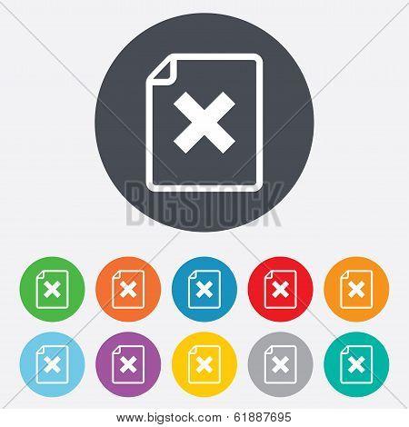 File document stop icon. Delete doc button.