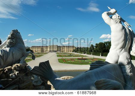 SCHONBRUNN PALACE, VIENNA, AUSTRIA CIRCA JUNE 2007 - Statue of Triton in the garden