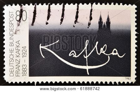 GERMANY - CIRCA 1983: stamp printed in Germany shows signature Franz Kafka circa 1983.