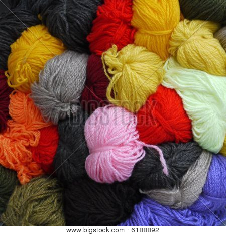 Colored Wool Skeins