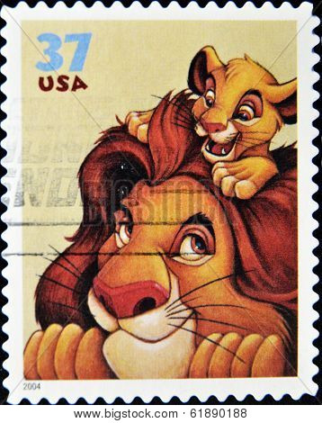 stamp printed by United states of America shows cartoon Disney Character Mufasa Simba
