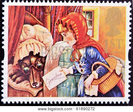 NITED KINGDOM - CIRCA 1994: A stamp printed in Great Britain shows Little Red Riding Hood
