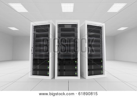Three Data Racks In Server Room