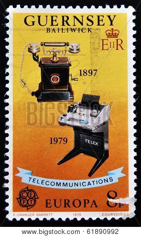 stamp printed in the Guernsey shows image commemorating the progress of telecommunications