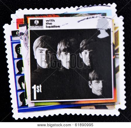 UNITED KINGDOM - CIRCA 2007: A stamp printed in British showing The Beatles Pop Group Album Cover