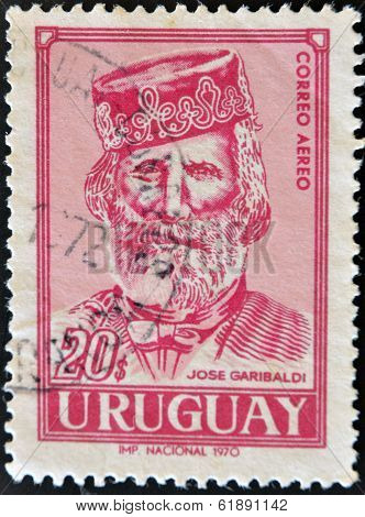URUGUAY - CIRCA 1970: A stamp printed in Uruguay shows Jose Garibaldi circa 1970