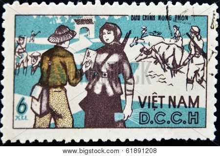 VIETNAM - CIRCA 1970: A stamp printed in Vietnam shows a farmer receiving a letter