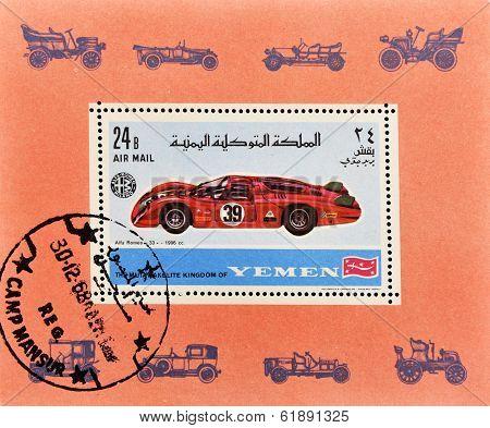 stamp printed in Yemen shows a alfa romeo car