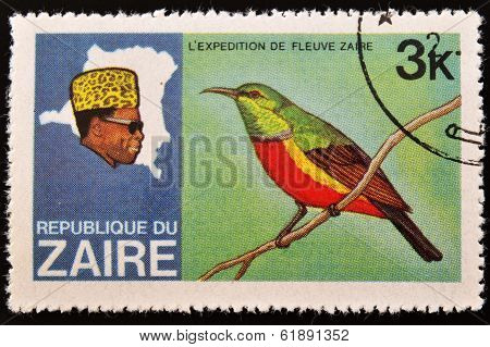 ZAIRE - CIRCA 1970: A stamp printed in Zaire dedicated to expedition on the river zaire circa 1970