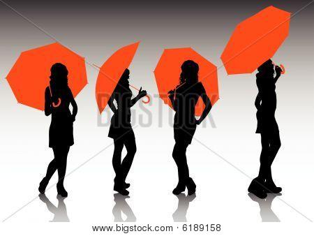 Girl under a red umbrella