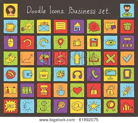 Colored Doodle Icons. Business Set