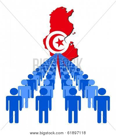 Lines of people with Tunisia map flag illustration