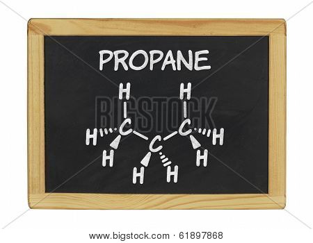 chemical formula of propane on a blackboard