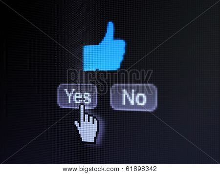 Social network concept: Thumb Up on digital computer screen