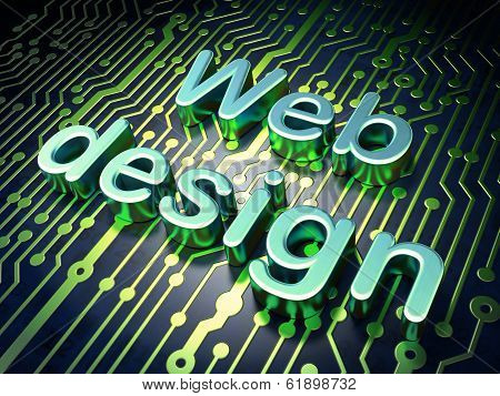 SEO web development concept: Web Design on circuit board background