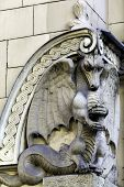 Stone Dragon On Facade Of Art Nouveau (jugendstil) Building, Riga Latvia