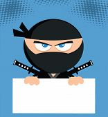 stock photo of chibi  - Angry Ninja Cartoon Character Over Blank Sign Flat Design - JPG