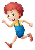 stock photo of jumpsuits  - Illustration of a curly young boy running on a white background - JPG