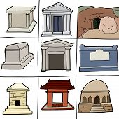 stock photo of empty tomb  - Hand drawn tombs and mausoleums on white background - JPG