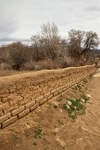 Low adobe wall