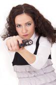 Woman Aiming With Gun