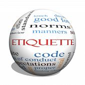 stock photo of politeness  - Etiquette 3D sphere Word Cloud Concept with great terms such as manners polite social and more - JPG
