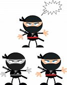 image of chibi  - Angry Ninja Warrior  Cartoon Characters 2 Flat Design  Collection Set - JPG