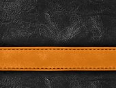 stock photo of stitches  - Light and dark brown colored stitched leather close up with seam - JPG