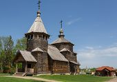 Church of the Resurrection from Potakino's village in the museum of wooden architecture in Suzdal, t