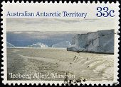 AUSTRALIA - CIRCA 1985: A stamp printed in Australian antarctic territory shows Iceberg Alley Mawson
