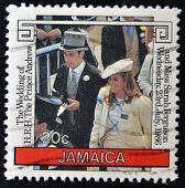 JAMAICA - CIRCA 1986: A stamp printed in Jamaica shows Wedding of Prince Andrew and Sarah Ferguson