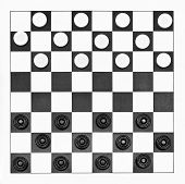 picture of draught-board  - top view of starting position on 8x8 vinyl checkers board - JPG
