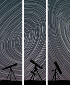 image of speculum  - Set vertical abstract banners of stars trace circles on the sky with telescopes - JPG