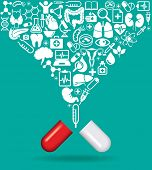 image of blood  - Pill with icons of human anatomy and medicine - JPG