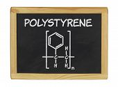 chemical formula of polystyrene on a blackboard