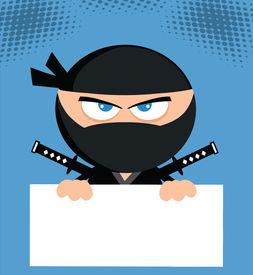 image of chibi  - Angry Ninja Cartoon Character Over Blank Sign Flat Design - JPG
