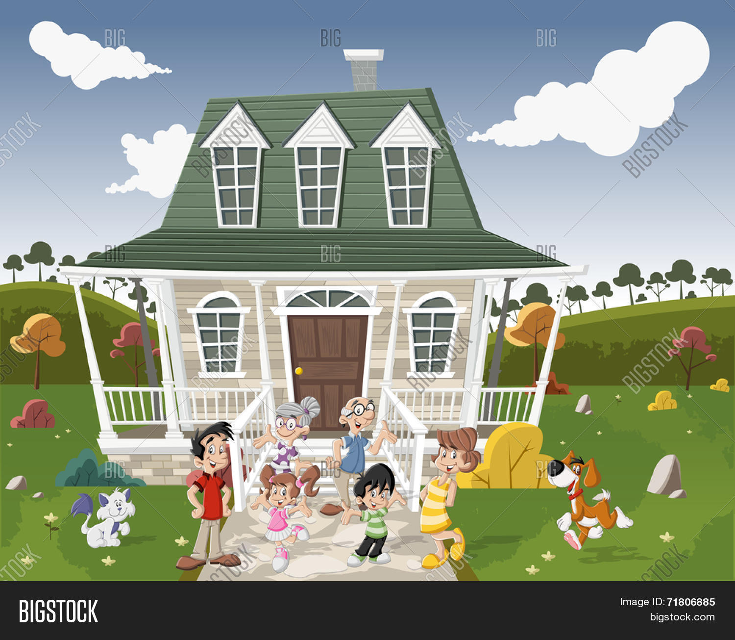 Happy cartoon family with pets in front of a country house ...