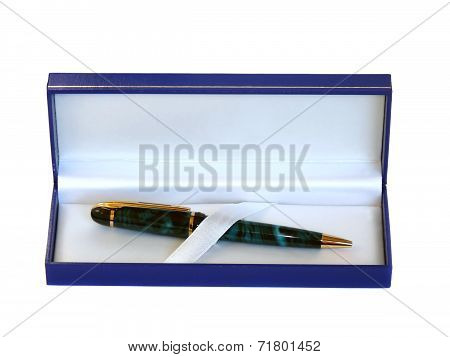 Gift Pen In A Case, Isolated On White Background