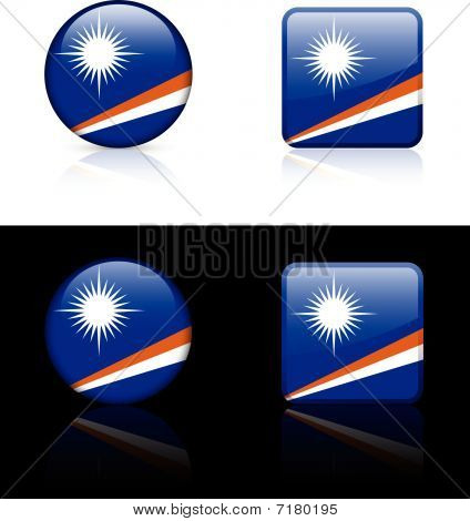 Marshall Islands Flag Buttons On White And Black Background