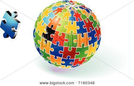 Incomplete Multi Colored Globe Puzzle