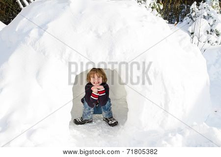 Funny Boy Playing In A Snow Igloo On A Sunny Winter Day