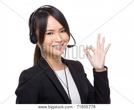 Customer service operator with ok sign