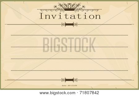 Blank vintage invitation
