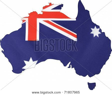Map Of Australia With Australian Flag.