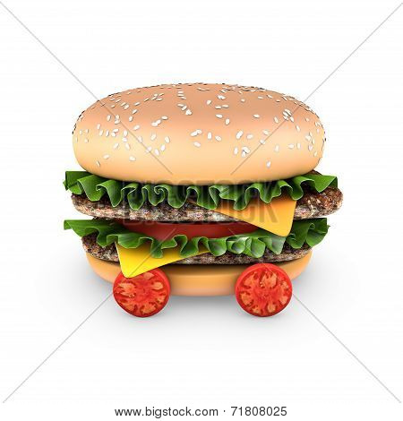Hamburger with double steak, salad, cheese, and cherry tomatoes
