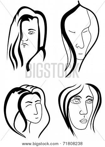 Women outlined faces isolated on whine background